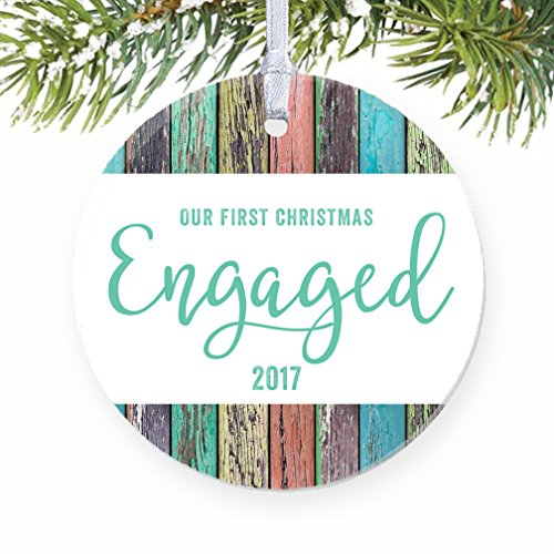 First Christmas Engaged Ornament 2017, Rustic Rainbow Barn Wood Porcelain Ornament Engagement Gift, 3 Flat Circle Christmas Ornament Glossy Glaze, Wh…