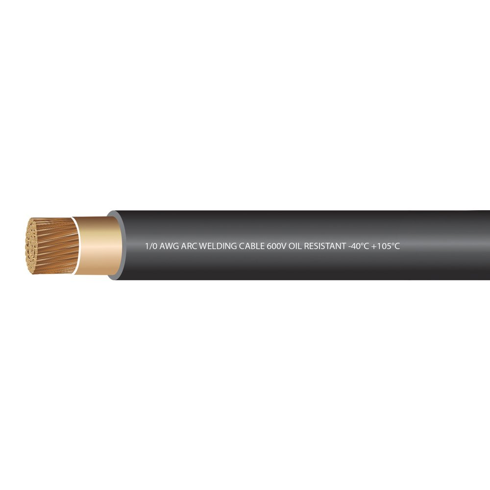 EWCS 1/0 Gauge Premium Extra Flexible Welding Cable 600 Volt - Black - 25 Feet - Made in the USA by EWCS