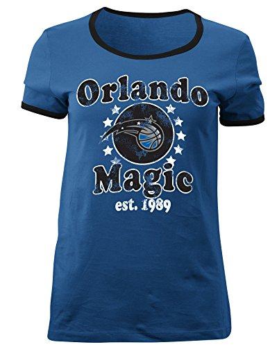 - 5th & Ocean NBA Orlando Magic Adult Women Ladies Baby Jersey Short Sleeve Ringer Tee,XL,Speed Blue