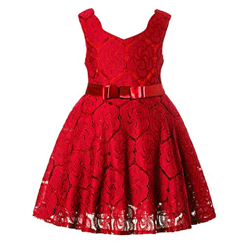 belababy Flower Girl Dresses Lace Crochet Embroidery, Red 8T