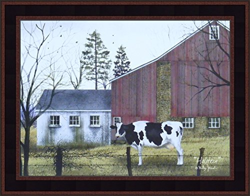 (Holstein by Billy Jacobs 15x19 Cow Barn Farm Country Primitive Folk Art Print Wall Décor Framed Picture)