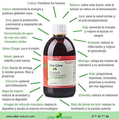 Bebida fermentada BIO-LIVE DARK. Bebida a partir de microorganismos beneficiosos, plantas medicinales, zumos y minerales