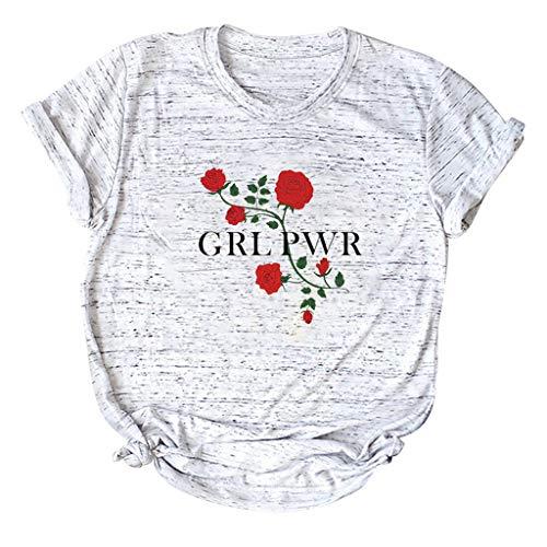 Flower Print Tops for Women,LuluZanm Sales! Ladies Fashion Short Sleeve Sack Blouse Cotton T-Shirt Plus Size S 5XL ()