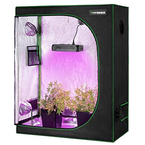 VIVOSUN Horticulture 48″x24″x60″ Mylar Hydroponic Grow Tent Kit with 300W LED Grow Light