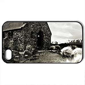 Abandoned - Case Cover for iPhone 4 and 4s (Religious Series, Watercolor style, Black)