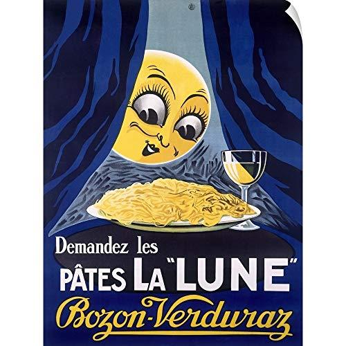 - CANVAS ON DEMAND Les Pates la Lune, Pasta and Moon, Vintage Poster Wall Peel Art Print, 30