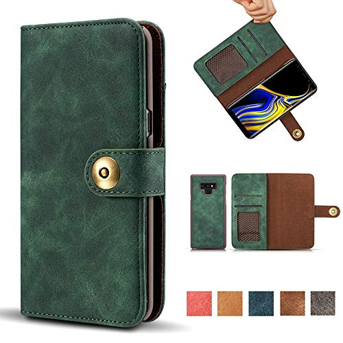 Galaxy Note 9 Case, 2-in-1 Wallet Flip Folio Magnetic Detachable Suede PU Leather Case Removable Retro 4 Card Slots Protective Phone Cover with Card Holder for Samsung Galaxy Note 9 - Green