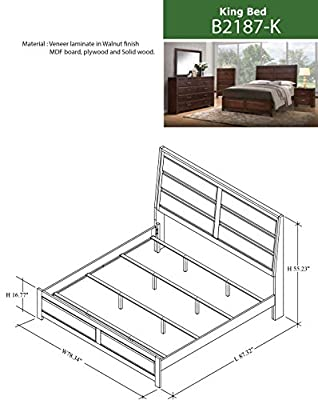 Kings Brand Aurora 6-Piece Walnut Wood Bedroom Set. Bed, Dresser, Mirror, Chest, 2 Nightstands