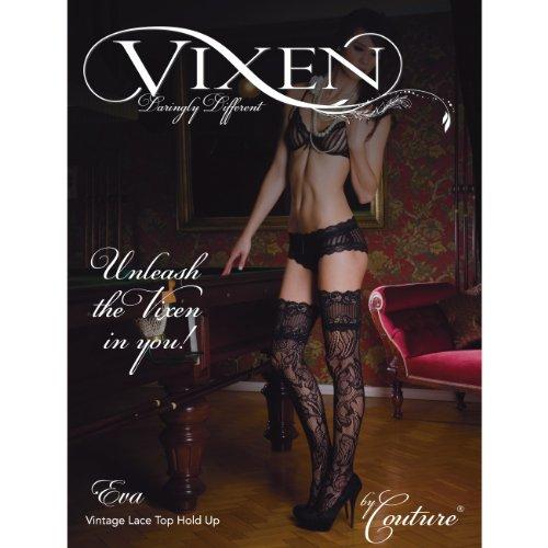Couture Medias de liga de rejilla modelo Vixen Eva Vintage y terminación de encaje para mujer (1 par) Negro