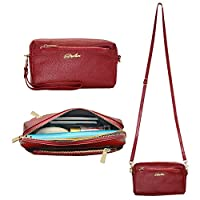 Befen Women Full Grain Leather Triple Zip Crossbody Bag Crossbody Cell Phone Purse Wallet Bag Phone Wristlet for iPhone 7/6s/6 Plus, Samsung Note 5/4-Burgundy Red