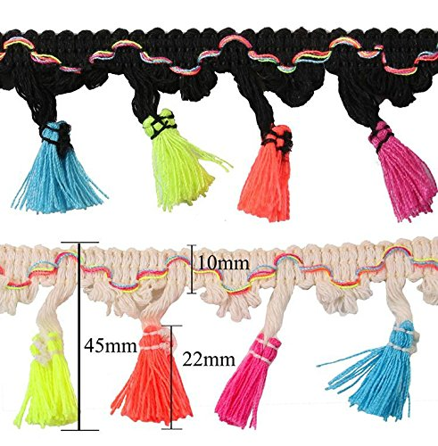 Yalulu 5 Yards Rainbow Tassel Lace Trim Cotton Fabric Ribbon Fringe Drop For Dress Skirt Extender Curtain Home Decor DIY Craft Supply - Tassel Fabric Black