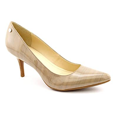 a3ac97f68ce Calvin Klein Ashley Womens Size 7.5 Beige Patent Leather Pumps Heels Shoes