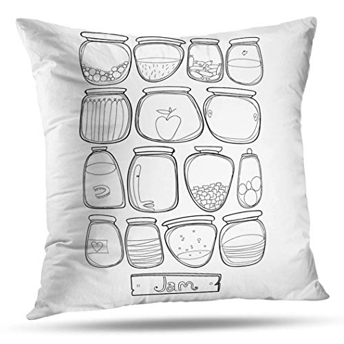 (Geericy Decorative Throw Pillow Covers Cartoon Jam Apple Art Collection Cute Doodle Food Fruit Funny Glass Cushion Cover 20X20 Inch for Bedroom Sofa)