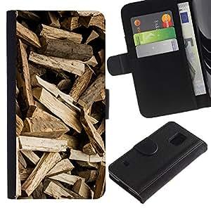 For Samsung Galaxy S5 V SM-G900,S-type® Logs Pattern Brown Logger - Dibujo PU billetera de cuero Funda Case Caso de la piel de la bolsa protectora