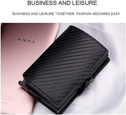 Aluminum Wallet Credit Card Holder Metal with RFID Blocking Slim Carbon Fiber Card ID Wallet for Men Women PU Leather Coin Purse Color: Black-Black Gimax Card /& ID Holders