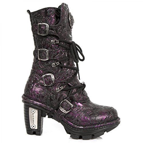 New Rock Støvler M.neotr005-c29 Gotisk Hardrock Punk Dame Stiefel Lila tssFX503