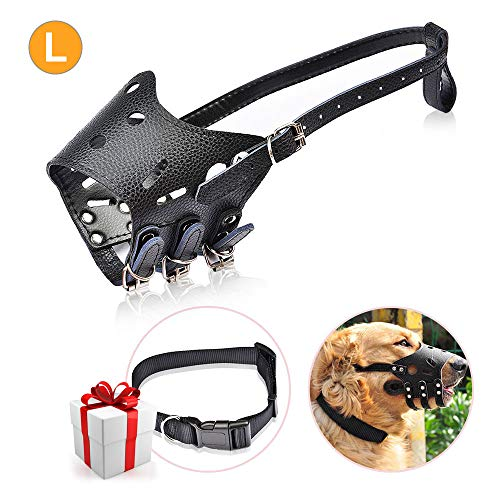 MoonPi Dog Muzzle with Nylon Collar Adjustable Basket Muzzle Breathable Leather Dog Mouth Cover Anti-Biting,Barking,Chewing,Surgery Recovery for Large Dog Black
