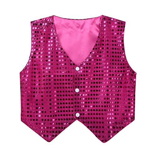 inlzdz Kids Boys Sequins Vest Top Jazz Hip-Hop Choir Waistcoat Jacket Stage Performing Costume Rose Red 9-10]()