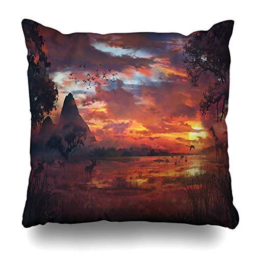 Ahawoso Throw Pillow Cover Jungle Savanna Safari Nature Hunting Orange Africa African Antelope Backlit Design Home Decor Cushion Case Square Size 18 x 18 Inches Zippered Pillowcase