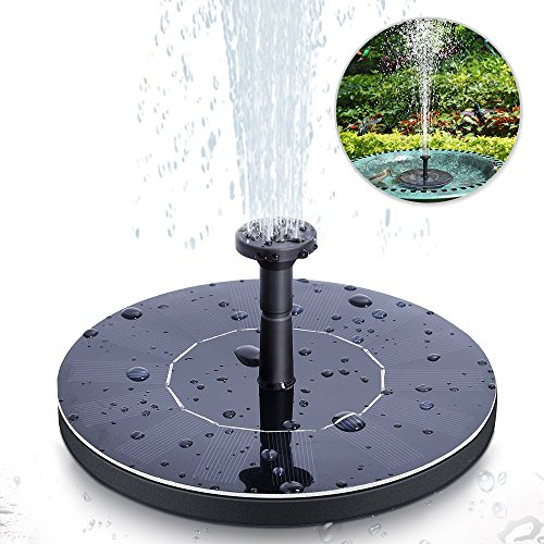 opamoo Solar Fountain Pump Solar Powered Bird Bath Solar Water Pump 1.4W Free Standing Water Fountain Panel Kit Watering Submersible Pump for Pond, Pool, Patio and Garden Outdoor Solar Fountain by opamoo