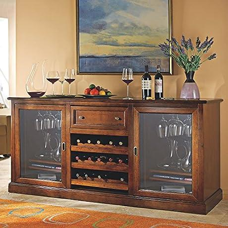 Siena Rich Brown Tulip And Walnut Wine Credenza Italian Design Wine Storage