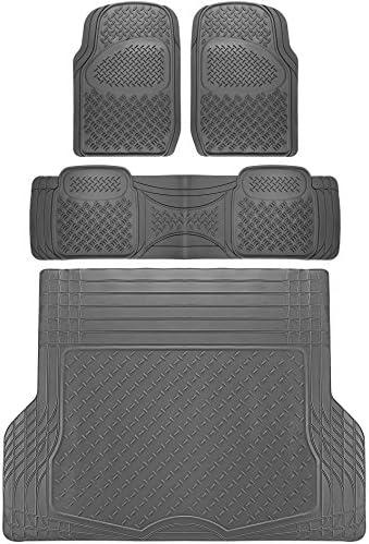 OxGord Diamond All-Weather Rubber Floor-Mats – Waterproof Protector for Spills, Dog, Pets, Car, SUV, Minivan, Truck – 4-Piece Set, Gray
