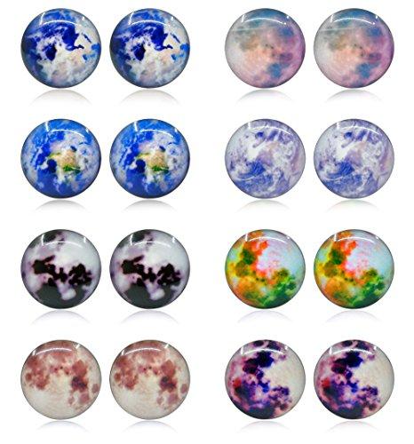 - Thunaraz 8 Pairs Unisex Stainless Steel Stud Earrings Galaxy Astronomy Earrings for Girls Boys Earth