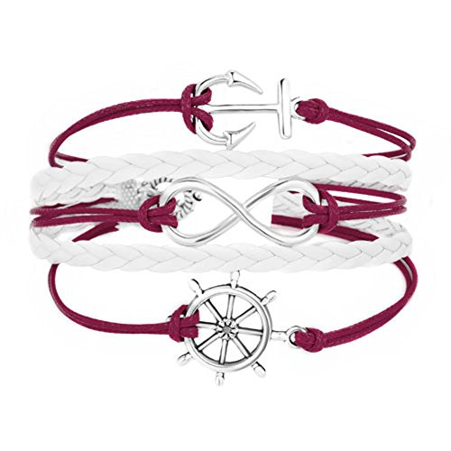 Heart of Charms Infinity Anchor Leather Bracelets Handmade Braided Rudder Be Brave Bracelets Rope Wrap Wristband (Red-1)