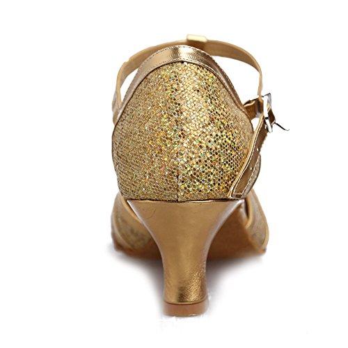 HROYL Zapatos de baile/Zapatos latinos de satín mujeres EC5-F11 el oro