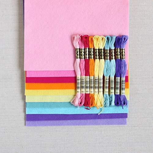 Felt Wool Floss - Wool Felt, Pot of Gold, 10 Sheets of Rainbow Wool Blend Felt (10 12x18 inch Sheets with Coordinating Floss)