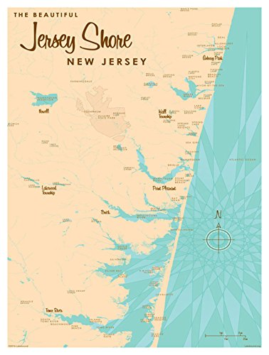 Jersey Shore New Jersey Map Vintage-Style Art Print by Lakebound (9