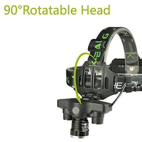 LED Headlamp Flashlight, USB Rechargeable LED Headlamp- Waterproof & Comfortable Headlight, Battery Powered Helmet Light, 8000 Lumen 4 Light 5 Modes Super Bright by KAILEDI. (Image #4)