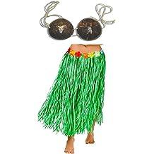 "Adult Size GREEN GRASS HULA Skirt with COCONUT BRA - 34"" Flower Trim Waist LUAU"