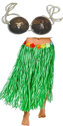 Adult Size GREEN GRASS HULA Skirt with COCONUT BRA - 34