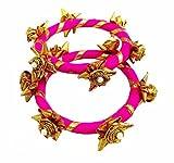 BLENT#63 Pink Gota Patti Flower Jewellery Bangle Set for Women/Kids/Girls/Bride/Bridal/Wedding/Haldi/Mehandi (Handmade Light Weight Rajasthani Fashion Jewellery)