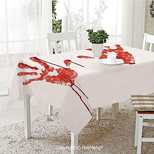 BeeMeng Dining Kitchen Polyester dust-Proof Table Cover,Horror,Handprint Like Wanting Help Halloween Horror Scary Spooky Flowing Blood Themed Print,Red White,Rectangular,59 x 59 inches ()