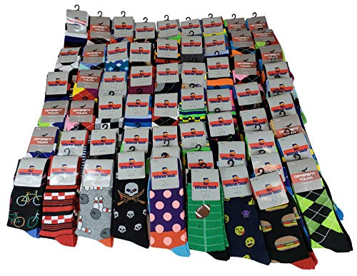 50 Pairs Men Wholesale Lot Assorted Bright Color Fancy Design Fashion Dress Socks (10-13, Assorted)