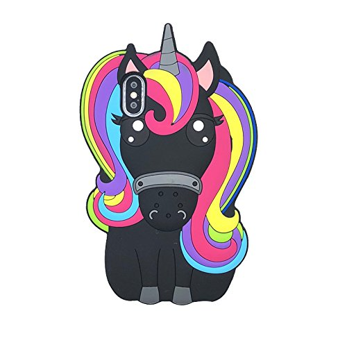 ISHOPRO (UNICORN RAINBOW) Cute black horse 3D Cartoon Lovely pony Animal Design Soft Silicone Back Case Cover for iPhone X/IPHONE 10 (BLACK)