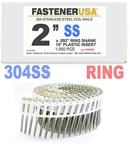 2'' x .092 RING 304 STAINLESS COIL NAILS 15 DEGREE PLASTIC 1M Box