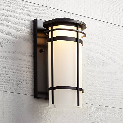"Clemson Modern Outdoor Wall Light Fixture LED Dimmable Bronze Steel 13"" Etched Glass for Exterior House Porch Patio - Possini Euro Design"