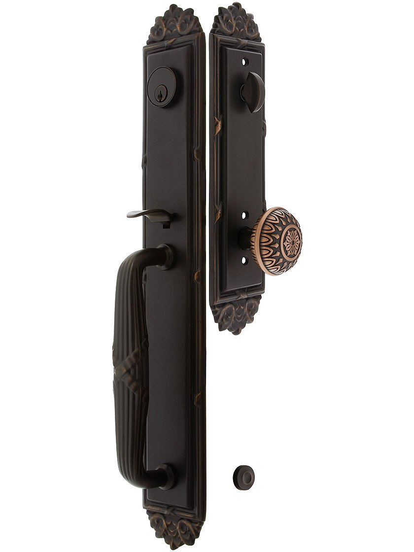 Imperial Style Tubular Handleset In Oil Rubbed Bronze With Lancaster Knobs And 2 3/8'' Backset. Antique Door Handle.