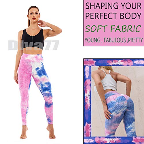 Diva77 Women's High Waist Yoga Pants Sexy Butt Lifting Stretchy Leggings Workout Running Slimming Booty Tights Purple Blue