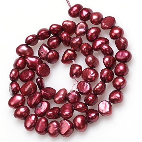 6-7mm Dyed Freshwater Cultrued Pearl Freeform Loose Beads For Jewelry Making Dark Red (Red Freshwater Pearl Necklace)