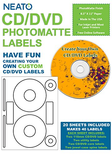 Neato CD/DVD PhotoMatte Labels - 20 Sheets - Makes 40 Disc Labels Total