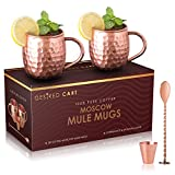 Moscow Mule Mugs - Solid Copper Mugs with Hammered Finish, Set of Two. Free Bonus: Copper Shot Cup + Long Handle Spoon + Recipes eBook By Desired Cart