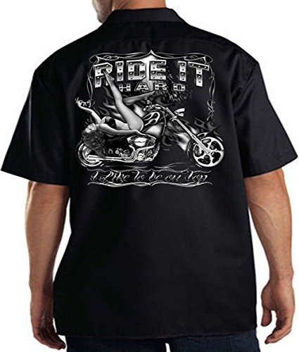 (Biker Work Shirt Ride It Hard Club Shirt Tee, Black, XXX-Large)