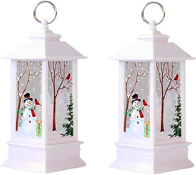 Christmas House Solar-Powered LED Window Candles 6.25 in LED Snowman Snowflake