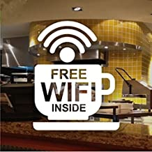 Bazaar Cafe Bar Wireless Free WIFI Sign Sticker Window Decal