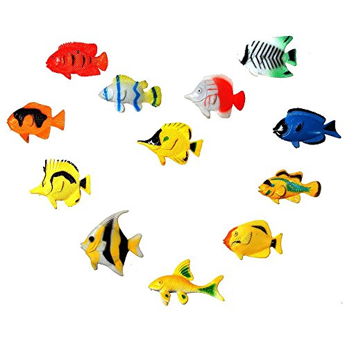 Miniature 12pc Plastic Marine Animal Model Toy Colorful Fish Ocean Creatures Beatiful Sea DIY Dollhouse Accessories ZevenMart