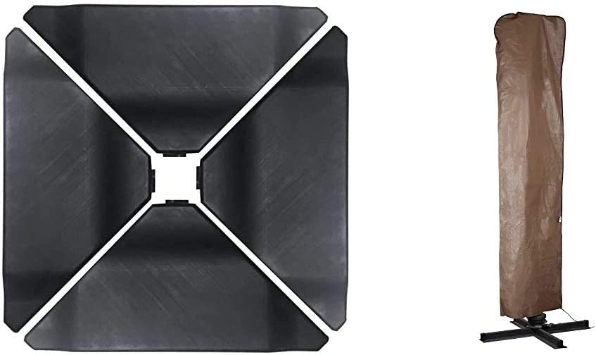 Abba Patio 4Pcs Offset Umbrella Base Plastic Cantilever Base Weights Plate Set, 180lb Black & Outdoor Market Patio Offset Cantilever Umbrella/Parasol Cover for 9-11 Ft Umbrella, Brown